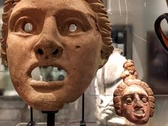 Terracotta theatre masks from the Ashmolean Museum. Sat 2 July 2016