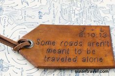 Travel Leather Luggage Tag, Custom Leather Tag, Personalized Luggage Tag,  Not all those who wander are lost - Tolkien,  Leather Luggage Tag - http://oleantravel.com/travel-leather-luggage-tag-custom-leather-tag-personalized-luggage-tag-not-all-those-who-wander-are-lost-tolkien-leather-luggage-tag