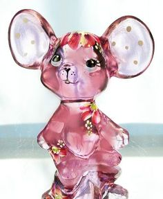 Fenton Art Glass Rose Pink Mouse Figurine