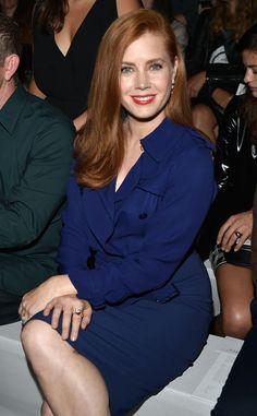 Looking beautiful in blue, Amy Adams sits front row at the Max Mara show at Milan Fashion Week.