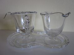 Creamer and Sugar Set With Tray and Silver Plated by AtomicHostess, $18.00