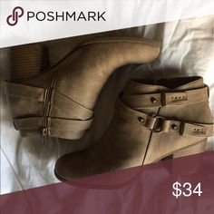 Booties Light tan booties with zipper on one side and leather wrap with buckle on the other Shoes Ankle Boots & Booties