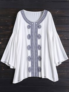 Tunic Embroidered Cover Up - WHITE ONE SIZE