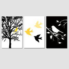 Modern Bird Art, Bird Pictures, Yellow Gray Bird Decor, Bird Wall Art Yellow Grey, Set of Three Bird Prints or Set of 3 Bird Canvas Wall Art Nursery Wall Art, Wall Art Decor, Bird Nursery, Nursery Decor, Nursery Canvas, Project Nursery, Nursery Prints, Nursery Ideas, Afrique Art