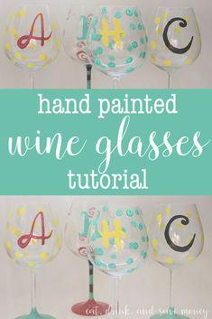 Hand painted wine glasses tutorial- easy steps to paint your own DIY hand painted wine glasses