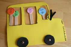 The Wheels on the Bus Go Round and Round - craft for the bigger kids at the party