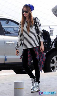 #JiYeon #Airport Fashion #T-ara #Stripe