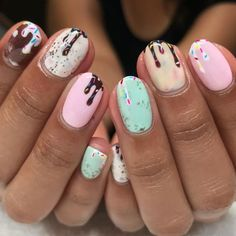 25 Summer Nail Art Ideas That Aren't Afraid to Bring on the Color - Ice Cream Nails – 2019 Best Summer Nail Designs Cute Summer Nail Designs, Cute Summer Nails, Pretty Nail Designs, Spring Nails, Cute Nails, Pretty Nails, Nail Art Designs, Nail Summer, Summer Hair