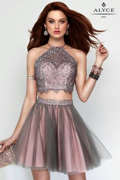 Homecoming Dresses Evening Dresses by ALYCE<BR>aay3685<BR>Two piece crop top sweetheart neckline with a sheer laced halter top and strappy back.