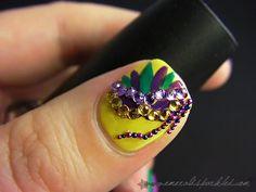 next nail goal check out www.MyNailPolishObsession.com for more nail art ideas. Love Nails, Pretty Nails, Nail Shop, Mardi Gras, Hair And Nails, You Nailed It, Nail Art Designs, Finger, Nail Polish