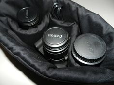 Camera bag inserts to make a large purse into a camera bag