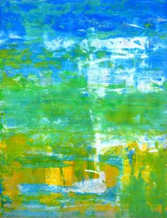 Sill Water, 2012 - Original Acrylic Artwork Modern Abstract Painting Wall Decorative Free Shipping Blue Yellow Green White 11x14 Paper