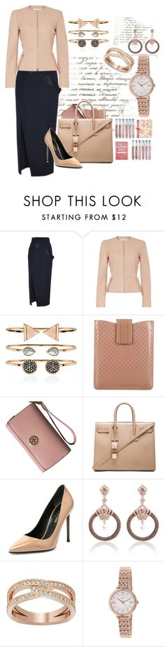 """Rose jewelry w/ #saintlaurent #hugoboss"" by mbarbosa ❤ liked on Polyvore featuring Antonio Berardi, HUGO, Accessorize, Gucci, Tory Burch, Yves Saint Laurent, Swarovski, FOSSIL, women's clothing and women's fashion"