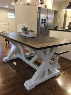 Free Local Delivery (Read Table Description for Details) - Freight Shipping Not Available Farmhouse Dining Room Table, Dinning Room Tables, Dining Room Design, A Table, Kitchen Table With Bench, Wood Tables, Side Tables, Trestle Table, Furniture Projects
