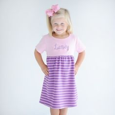 Light Pink and Purple Striped Knit Short Sleeve Dress