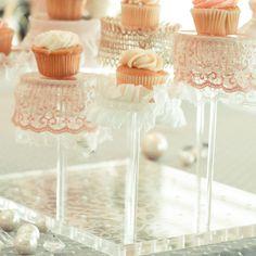 LOVE these!  Soooo pretty using The Pastry Pedestal! #thepastrypedestal #minicupcakes #weddingshower #bridalshower