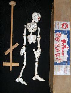 Early Pelham Puppet c1940 s/50 s Disjointing Skeleton - Boxed