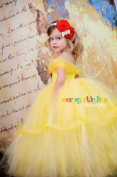 Belle tutu dress Beauty and the Beast yellow marigold nb-4t. $109.95, via Etsy.