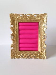 Gold and Hot Pink Ring Frame  by Downtownalyshop on Etsy https://www.etsy.com/listing/232281912/gold-and-hot-pink-ring-frame