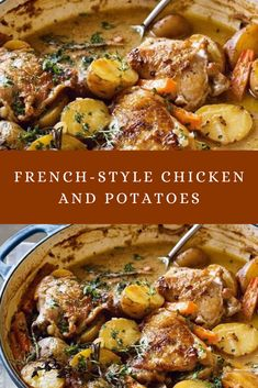 Take your tastebuds on a trip to France with this delicious and easy French-style creamy chicken and potato bake. Food Recipes For Dinner, Food Recipes Keto French Recipes Dinner, French Cooking Recipes, Easy French Recipes, Winter Dinner Recipes, French Dinner Parties, Italian Cooking, Vegetarian Cooking, Medeteranian Recipes, Easy Potato Recipes