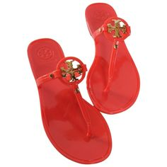 Pre-owned Tory Burch Brand New In Box Mini Miller Jelly Thong Flat... ($100) ❤ liked on Polyvore featuring shoes, sandals, flip flops, poppy coral, flat sandals, jelly shoes, jelly flat shoes, jelly flip flops and slip on sandals