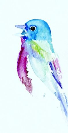 Print of Watercolor Painting Bird Song 8 x 6 by ArtbyJessBuhman, $20.95