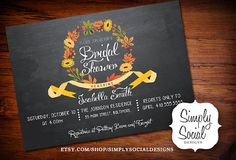 Autumn Fall Bridal Shower Baby Shower Invitation Leaves Ribbon Chalkboard PRINTABLE