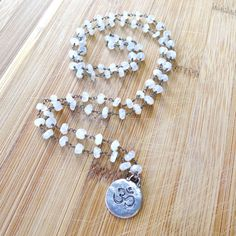 "30"" Moonstone Beaded Necklace with Om Pendant on by 137point5"