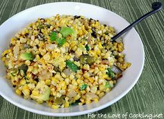 For the Love of Cooking » Grilled Corn, Poblano, and Onion Salad with Lime Vinaigrette