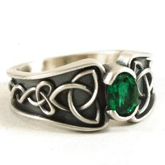 Celtic Ring, Green Chrome Diopside Ring, Trinity Knot Ring, Celtic Wedding Band, Green Stone Ring, Sterling Silver, Custom Ring Size CR-17d