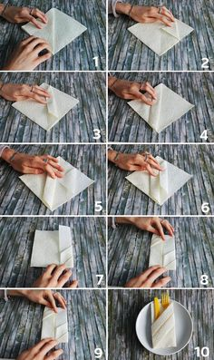 napkins fold christmas # christmas This pretty cutlery bag you can . napkins fold christmas You can easily make this pretty cutlery bag yourself. Christmas Napkins, Christmas Diy, Paper Napkin Folding, Dining Etiquette, How To Fold Towels, How To Fold Napkins, Origami Decoration, Table Manners, Wedding Napkins