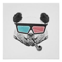 Poster: Vintage panda 3-D glasses Print