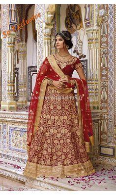 Lehenga Mariée Ashwini - Rouge Robe Indienne Haute Couture  New Fashion