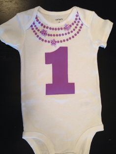 Necklace First Birthday Onesie Baby Girl by HandsomeBaby on Etsy