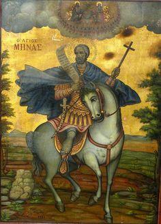 Minas of Egypt Byzantine Icons, Byzantine Art, Religious Icons, Religious Art, Russian Icons, Icon Collection, Orthodox Icons, Christian Art, Saints