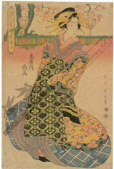 Kikugawa Eizan: Courtesan Shiratama of the Tama house - Austrian Museum of Applied Arts
