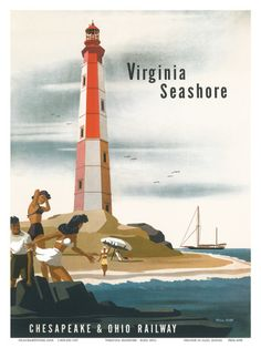 Chesapeake & Ohio Railroad: Virginia Seashore, c.1950s Art Print