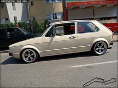 VW Golf on Fuchs wheels at the Wörthersee Tour 2009 by retromotoring, Vw Mk1 Rabbit, Vw Rabbit Pickup, Scirocco Volkswagen, Volkswagen Golf Mk1, Cabrio Vw, Supercars, Power Bike, Golf Mk2, Performance Cars