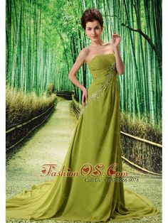 Olive Green Chapel Train Beaded Appliques Chiffon 2013 New Styles Custom Made Prom Gowns  http://www.fashionos.com  Create your own modern day fairy tale in this stunning army green strapless gown. The sheath bodice with delicate ruching that gives you a long lean look. Shimmering beaded and embroidered accents contour your curves to create a flattering fit.The corset closure and flounced train add a final touch of elegance to an already stunning gown. A perfect dress for your next prom!