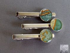 Tie Clip Bar Custom Map Your Choice Vintage Atlas Tie Fob Tack Personalized For your Groom Wedding Boss or Father's Day Vintage Travel Wedding, Gifts For Wedding Party, Party Gifts, Tie Pin, Custom Map, Trending Outfits, Unique Jewelry, Handmade Gifts, Neckties