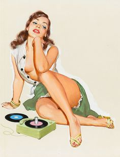 J. Frederick Smith - Pin-up with 45 rpm Records, Ballyhoo Calendar illustration, 1953