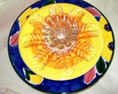 Garden Plate flower - China blooms - art that can be displayed on a rod in the garden