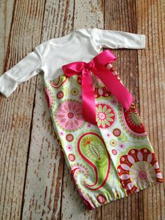 Newborn Layette Infant Gown Baby Gown  Girl  by LalaBirdBoutique, $24.00