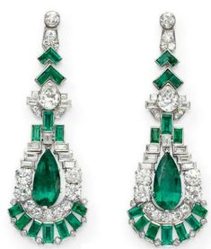 Seriously... anything deco with diamonds & emeralds just rocks my world.    Art deco earrings ca. 1925