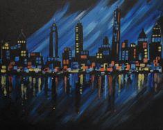 Social Artworking Canvas Painting Design - NYC Night Skyline
