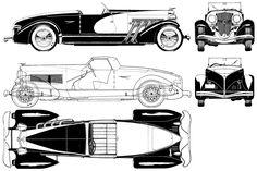 Duesenberg ads | 1933 Duesenberg Model SSJ Cabriolet blueprint