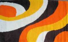 GROOVY American made RYA style Latch Hook Rug by Esoterique50, $95.00