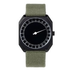 online shopping for slow Jo 15 - Swiss Made one-hand 24 hour watch - Black olive grenn canvas band from top store. See new offer for slow Jo 15 - Swiss Made one-hand 24 hour watch - Black olive grenn canvas band Modern Watches, Cool Watches, Watches For Men, Street Art Banksy, Mens Designer Watches, Black Leather Watch, Brown Leather, Hand Watch, Vintage Leather