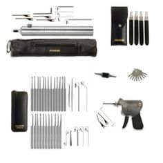 Lock Pick Combo Kit 5 Includes 1 of each of the following lock pick sets and tools: MPXS-32 Lock Pick Set E500XT Electric Lock Pick Lockaid - Lock Pick Gun Universal Gas Cap Key DSS-4 Double Sided Pick Set WP-10 Warded Pick Set When tools are purchased separately at full price they'd cost $355.70 Save BIG when buying this lock pick combo kit!
