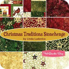 Christmas Traditions Stonehenge Fat Quarter Bundle Linda Ludovico for Northcott Fabrics